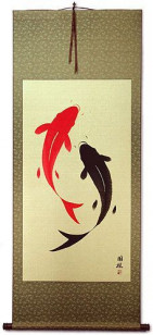 Large Yin Yang Fish Hanging Scroll