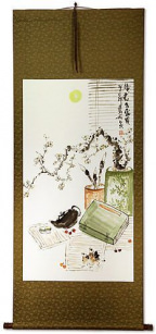 Traditional Antique-Style Plum Blossom Still Life - Large Wall Scroll