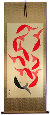 Nine Abstract Fish - Large Wall Scroll