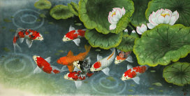 Koi Fish and Lillies Feeding Time Painting