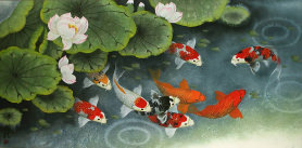 Koi Fish Feeding Time Painting