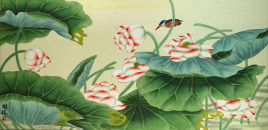 Lotus and Kingfisher Bird<br>Large Asian Painting