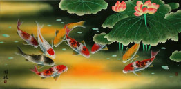 Huge Koi Fish and Lily Painting