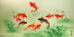 Asian Koi Fish Large Painting