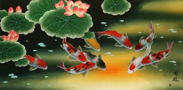 Huge Koi Fish and Lily Elaborate Painting