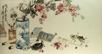 Still Life<br>Vase, Flower, Teapot, Birds Painting