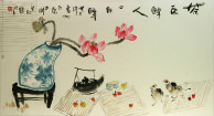 Asian Flower Vase Teapot Painting
