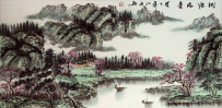 Asian Green Landscape Painting