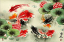 Koi Fish and Lotus Flower<br>Colorful Asian Art Painting