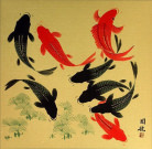 Big Koi Fish Painting on Antiqued Paper