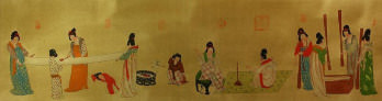 Tang Dynasty Ladies Daily Chores<br>Partial Print Painting