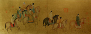 Tang Dynasty Horseback Ride<br>Large Antique-Style Print
