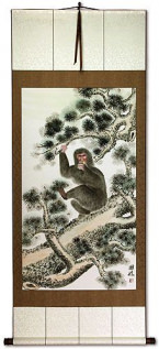 Monkey in Pine Tree - Asian Wall Scroll