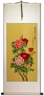 Colorful Peony Flower Wall Scroll