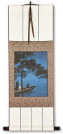 Shubi Pine Night Boat - Japanese Woodblock Print Repro - Wall Scroll