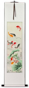 Koi Fish & Lotus Flower - Chinese Scroll