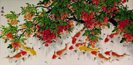 Huge Koi Fish and Lychee Fruit Asian Painting