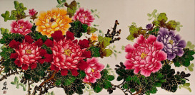 Colorful Peony Flowers Asian Art