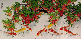 Huge Koi Fish and Lychee Fruit  Painting