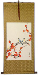 Birds & Bright Red-Orange Plum Blossom Wall Scroll