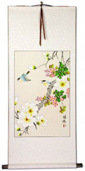 Two Birds and Flower Wall Scroll