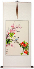 Birds Plum Blossom and Flower Wall Scroll