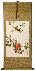 Birds on Flowering Branch Wall Scroll