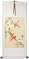 Cardinal Birds and Flowers Wall Scroll