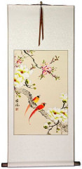 Cardinal Bird and Flower Chinese Wall Scroll