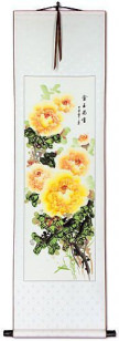 Yellow / Orange Peony Flowers Wall Scrolls