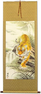 Asian Tiger on the Prowl - Large Wall Scroll