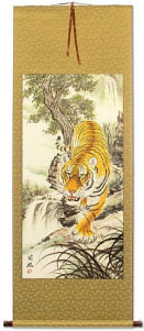 Chinese Tiger Painting - Large Wall Scroll