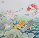 Koi Fish and Lotus Flower Asian Art