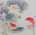 Koi Fish and Lotus Flower<br>Gorgeous Asian Asian Art