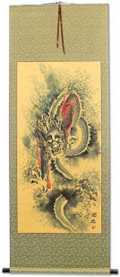 Flying Asian Dragon - Chinese Scroll
