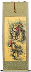 Flying Chinese Dragon - Asian Scroll