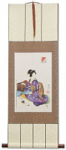 Woman Sewing - Japanese Woodblock Print Repro - Wall Scroll