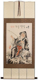 Tai Gong Old Man Fishing Wall Scroll
