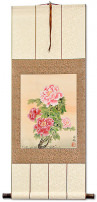 Peony Flowers Wall Scroll