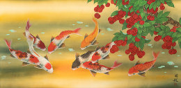 Huge Koi Fish and Lychee Fruit<br>Extra Large Chinese Painting