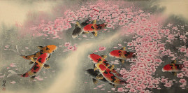 Koi Fish and Plum Blossoms