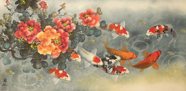 Koi Fish and Peony Painting