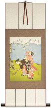 Young Women Beneath a Cherry Tree - Japanese Print Repro - Wall Scroll