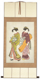 Geisha & Servant Carrying Shamisen - Japanese Print - Jumbo Wall Scroll