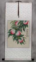 Many Good Wishes and a Very Long Life Peach Tree Wall Scroll