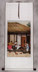 North Korean Village Ladies Handmade Wall Scroll