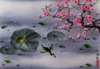 Asian Frogs and Plum Blossom Painting