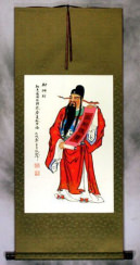 God of Prosperity Oriental Wall Scroll