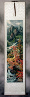 North Korean Colorful Landscape Wall Scroll