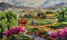 North Korean Village Field Painting
